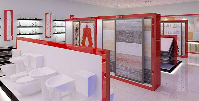 Mẫu kệ trưng bày 2 mặt đặt giữa cửa hàng, showroom