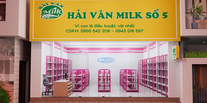 Dự án lắp đặt giá kệ siêu thị cho cửa hàng Hải Vân Milk