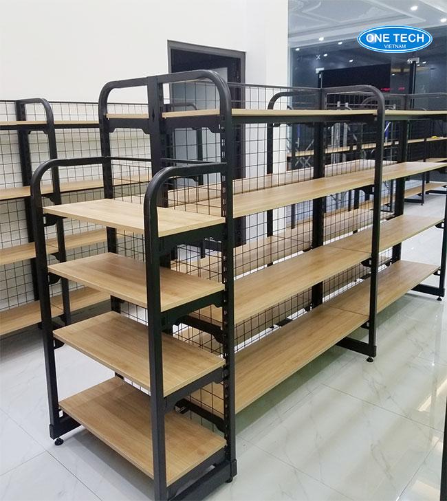 Mẫu kệ gỗ bày hàng khung sắt mâm gỗ